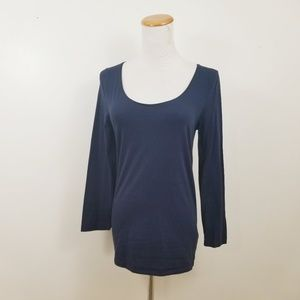 J Crew M Stretch Suiting T-Shirt Top Navy Blue